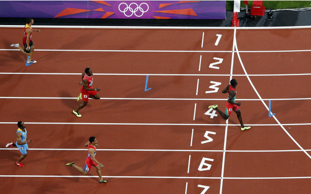 Grenada's Kirani James crosses the finish line to win the men's 400m final at the London 2012 Olympic Games at the Olympic Stadium