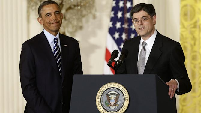 President Barack Obama listens as current White House Chief of Staff Jack Lew speaks in the East Room of the White House in Washington, Thursday, Jan. 10, 2013, where he announced he will nominate Lew as the next Treasury Secretary.  (AP Photo/Charles Dharapak)