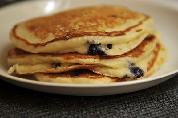 Lemony Cream Cheese Pancakes with Blueberries
