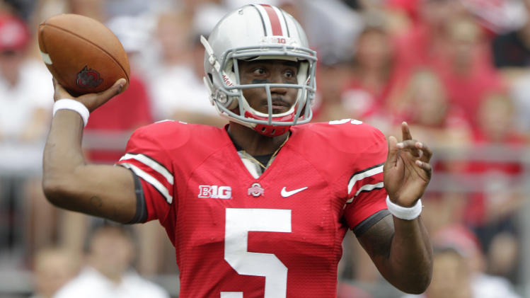 Ohio State quarterback Braxton Miller drops back to pass against Miami of Ohio during the first quarter of an NCAA college football game Saturday, Sept. 1, 2012, in Columbus, Ohio. (AP Photo/Jay LaPrete)