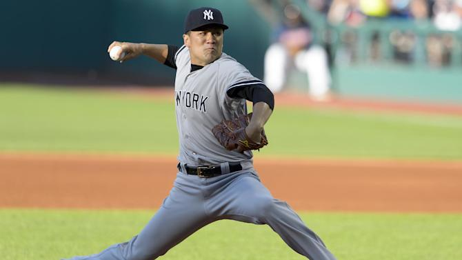 New York Yankees star pitcher Masahiro Tanaka during the first inning against the Cleveland Indians at Progressive Field on July 8, 2014