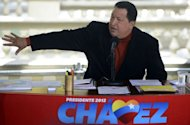 Venezuelan President Hugo Chavez talks during a press conference in Caracas. Chavez on Wednesday became the latest senior official to insist there is no evidence of an alleged massacre of some 80 Yanomami indigenous people