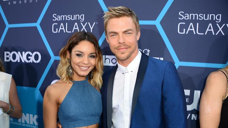 IMAGE DISTRIBUTED FOR BONGO - Vanessa Hudgens wearing custom Bongo, left, and Derek Hough arrive at the 16th Annual Young Hollywood Awards at The Wiltern on Sunday, July 27, 2014 in Los Angeles. (Photo by Jordan Strauss/Invision for Bongo/AP Images)