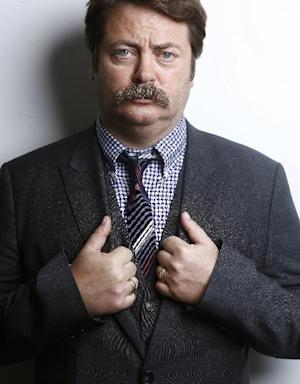 """This Oct. 11, 2012 photo shows actor Nick Offerman from """"Parks & Recreation"""" poses for a portrait in New York.  Offerman shares the same deadpan delivery as his character Ron Swanson and is a guy's guy, who loves carpentry. He even has a woodshop in Los Angeles. Besides NBC's """"Parks and Rec,"""" He has a live, musical-comedy review called """"American Ham"""" and a new small film """"Smashed"""" starring Aaron Paul and Mary Elizabeth Winstead. (Photo by Carlo Allegri/Invision/AP)"""