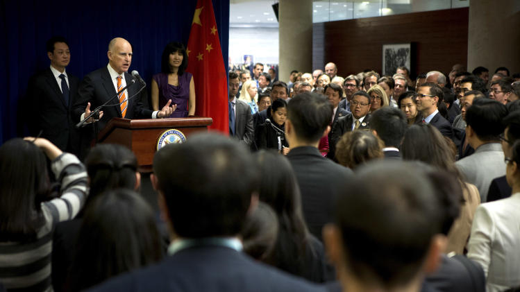 California Gov. Jerry Brown delivers his speech during a Trade and Investment reception at the U.S. Embassy in Beijing Wednesday, April 10, 2013. (AP Photo/Andy Wong, Pool)
