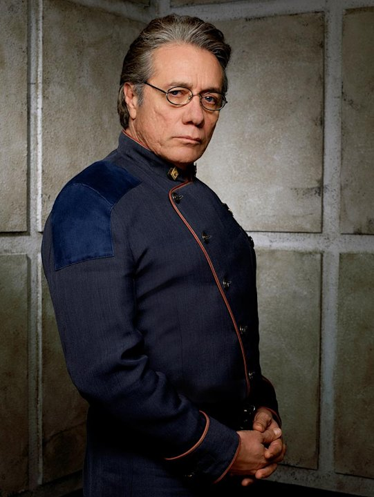 Edward James Olmos as Admiral William Adama in Battlestar Galactica on the Sci Fi Channel.
