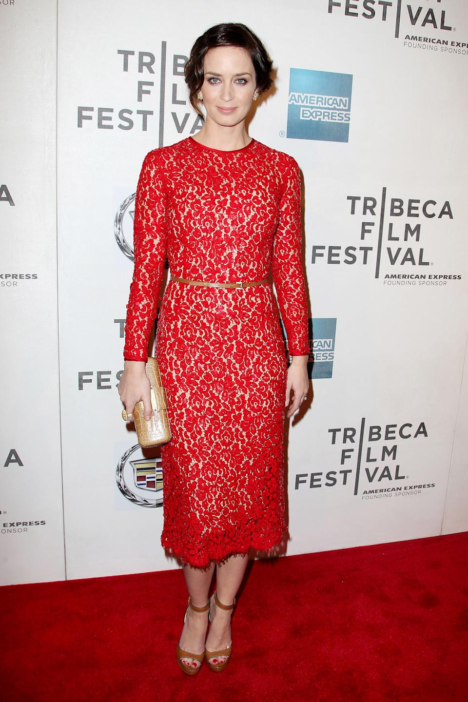 "In this photo provided by StarPix, actress Emily Blunt arrives for the Tribeca Film Festival premiere of  ""Your Sister`s Sister,"" Thursday, April 19, 2012 in New York. Blunt stars in the film. (AP Photo/StarPix, Amanda Schawb)"