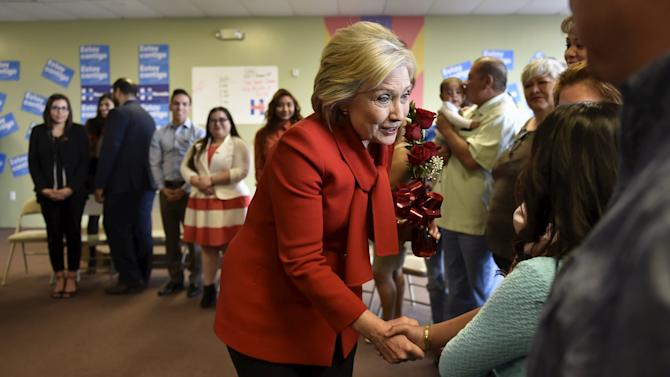Democratic presidential candidate Hillary Clinton meets a group of DREAMers at a campaign office in Las Vegas
