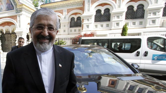 Iran's Ambassador to the International Atomic Energy Agency, IAEA, Ali Asghar Soltanieh arrives for talks with the International IAEA at the permanent mission of Iran in Vienna, Austria, Tuesday, May 15, 2012. The U.N. nuclear agency has started new talks with Iran Monday, aimed at getting access to what it suspects was the site of secret tests to make nuclear arms. (AP Photo/Ronald Zak)