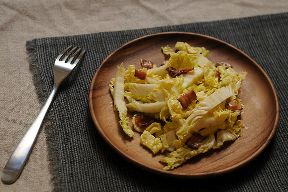 Helen Getz's Napa Cabbage Salad with Hot Bacon Dressing