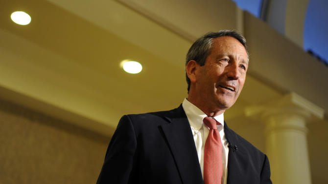Former South Carolina Gov. Mark Sanford speaks to supporters during a campaign stop at the Historic Rotary Club of Charleston at the Citadel on Tuesday, April 30, 2013 in Charleston, S.C. Sanford picked up the endorsement of U.S. Sen. Rand Paul in his quest for a vacant South Carolina congressional seat Tuesday, even as House Democrats launched another ad attacking the former governor's personal indiscretions. (AP Photo/Rainier Ehrhardt)