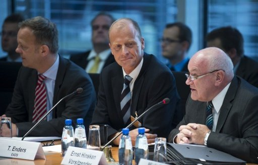 <p>L-R: EADS head of public affairs Alexander Reinhardt, EADS Chief Executive Tom Enders and chairman of the German Bundestag's economic affairs committee Ernst Hinsken begin a hearing on the proposed merger of EADS with BAE in Berlin, in September 2012. The merger to create the biggest aerospace and defence group in the world got mired in the quicksand of politics and eventually failed.</p>