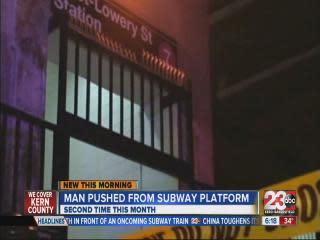 Man pushed from subway platform