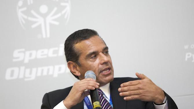 IMAGE DISTRIBUTED FOR SPECIAL OLYMPICS - Antonio Villaraigosa, the mayor of Los Angeles, CA, discusses the cycle of poverty and social exclusion for people with intellectual disabilities during the Special Olympics Global Development Summit in PyeongChang, South Korea on the second day of the competition, Wednesday, Jan. 30, 2013. (Manchul Kim/AP Images for Special Olympics)