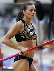 Russian Yelena Isinbaeva competes in the women's pole vault contest during the IAAF Diamond League Herculis meeting at the Stade Louis II in Monte Carlo, Monaco. Isinbayeva endured a dismal night as she failed with three attempts to clear 4.70m
