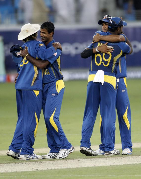Sri Lankan players celebrate their victory over Pakistan in their second Twenty20 international cricket match in Dubai