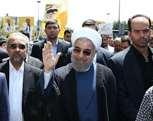 President Hassan Rouhani attends a rally to mark Quds…