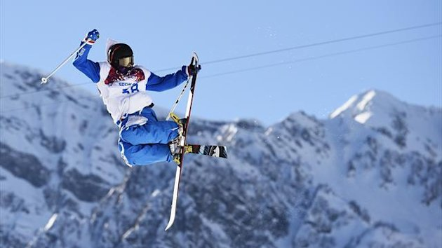 France's Jules Bonnaire performs a jump during the men's freestyle skiing slopestyle qualification round at the 2014 Sochi Winter Olympic Games in Rosa Khutor February 13, 2014 (Reuters)