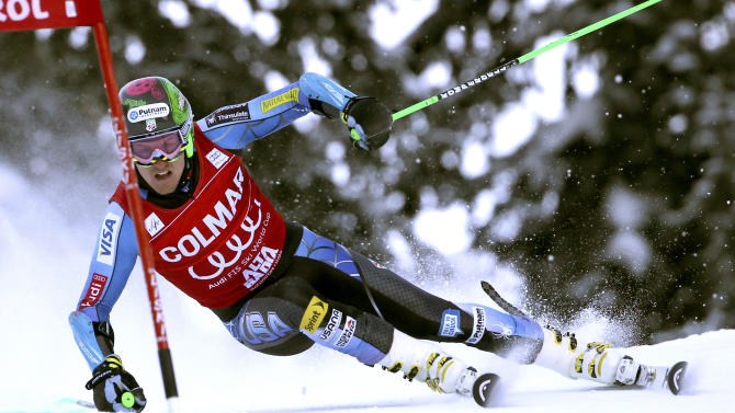 Ted Ligety, of the United States, competes during the first run of an alpine ski, men's World Cup giant slalom, in Alta Badia, Italy, Sunday, Dec. 16, 2012. (AP Photo/Alessandro Trovati)