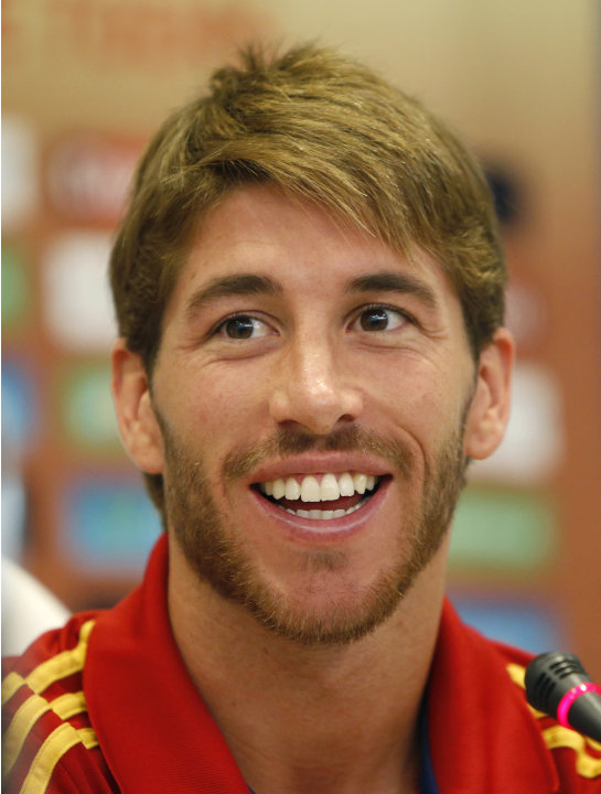 Spain soccer team defender Sergio Ramos speaks during a press conference  in Kiev, Ukraine, Friday, June 29,2012. Spain reached the final of the Euro 2012 soccer championship. (AP Photo/Efrem Lukatsky