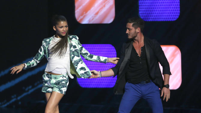 Zendaya Coleman and Val Chmerkovskiy onstage during the Radio Disney Music Awards at the Nokia Theatre on Saturday, April 27, 2013 in Los Angeles. (Photo by Todd Williamson /Invision/AP)