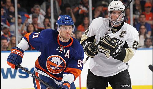 New York Islanders' John Tavares and Pittsburgh Penguins' Sidney Crosby