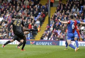 Manchester City's Toure scores a goal against Crystal Palace during their English Premier League soccer match at Selhurst Park in London