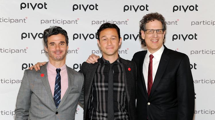 """Pivot president Evan Shapiro, left, actor, owner & founder of hitRECord, Joseph Gordon-Levitt and Participant Media CEO Jim Berk, right, attend Participant Media's """"pivot"""" cable network launch event at the Museum of Arts & Design on Wednesday, March 27, 2013 in New York. (Photo by Evan Agostini/Invision/AP)"""
