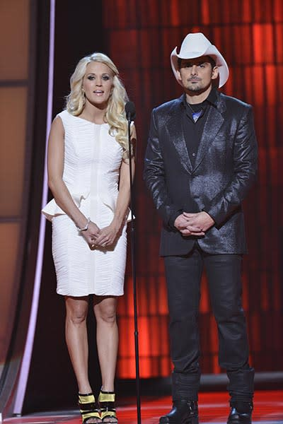 Carrie Underwood in white peplum