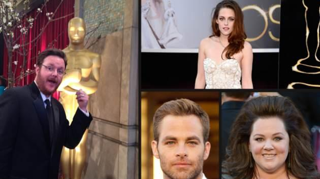 Access at the Oscars: AccessHollywood.com Managing Editor Eric Anderson (far left), Kristen Stewart (top right); Chris Pine and Melissa McCarthy (bottom right) -- Getty ImagesAccess Hollywood