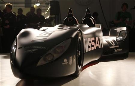 Nissan's new Deltawing racing car is seen after it was unveiled in London