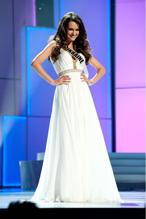 "Miss Ukraine 2011, Olesia Stefanko competes in her choice evening gown, as one of the top 10 contestants, during the ""60th Annual Miss Universe"" presentation show from São Paulo, Brazil."
