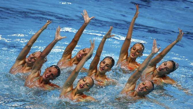 Team Italy performs in the synchronised swimming team free final at the Aquatics World Championships in Kazan