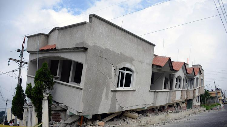 A view of houses damaged by an earthquake, in San Marcos, 240 km of Guatemala City, on July 7, 2014