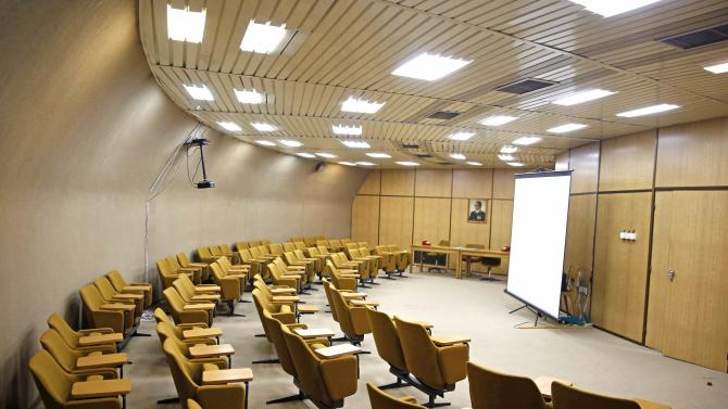 A meeting hall is seen in Tito's underground secret bunker (ARK) in Konjic