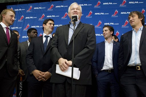 Donald Fehr, center, executive director of the NHL Players' Association, stands with NHL hockey players, from left,Tampa Bay Lightning's  Steven Stamkos, Montreal Canadiens' P.K Subban, Pittsburgh Penguins' Sidney Crosby, New York Islanders' John Tavares and Washington Capitals' Alex Ovechkin as they speak to reporters following collective bargaining talks with the NHL Players' Association, Tuesday, Aug. 14, 2012, in Toronto. (AP Photo/The Canadian Press, Chris Young)