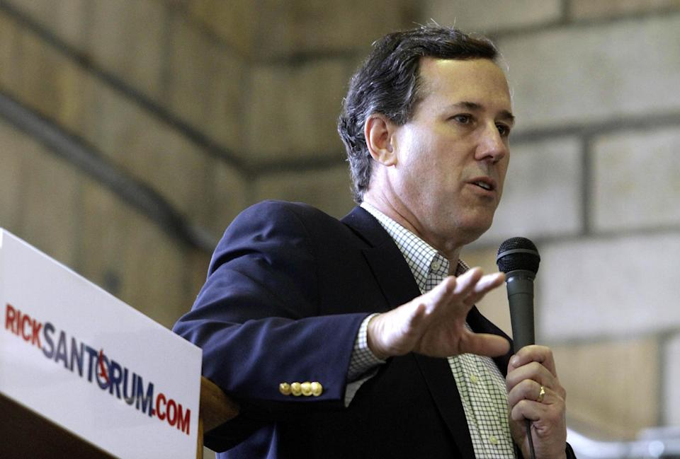 Republican presidential candidate, former Pennsylvania Sen. Rick Santorum speaks at a campaign rally, Friday, Feb. 3, 2012, in Hannibal, Mo. (AP Photo/Seth Perlman)