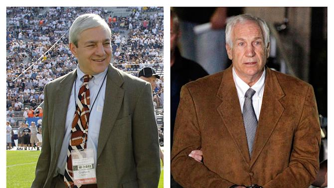 In this file photo combo, at left, in an Oct. 8, 2011 file photo, Penn State president Graham Spanier walks on the field before an NCAA college football game in State College, Pa. At right, former Penn State University assistant football coach Jerry Sandusky leaves the Centre County Courthouse in custody after being found guilty of multiple charges of child sexual abuse in Bellefonte, Pa., Friday, June 22, 2012. For more than two decades, colleges and universities have been required to publicly share details of campus crimes and report murders, rapes, robberies, arson and other serious offenses to the federal government. That requirement was apparently unheeded by former Penn State president Spanier, other top officials and the larger ranks of university employees responsible for student safety, the recently released investigation into Sandusky's sex-abuse scandal concluded.  (AP Photo/Gene J. Puskar, File)