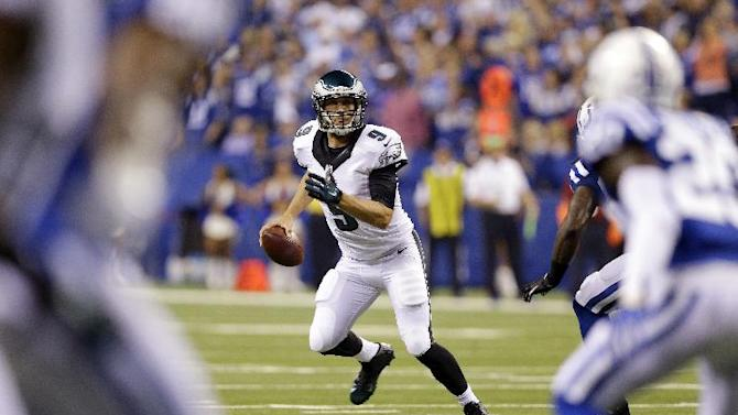 Philadelphia Eagles quarterback Nick Foles looks to throw during the first half of an NFL football game against the Indianapolis Colts Monday, Sept. 15, 2014, in Indianapolis