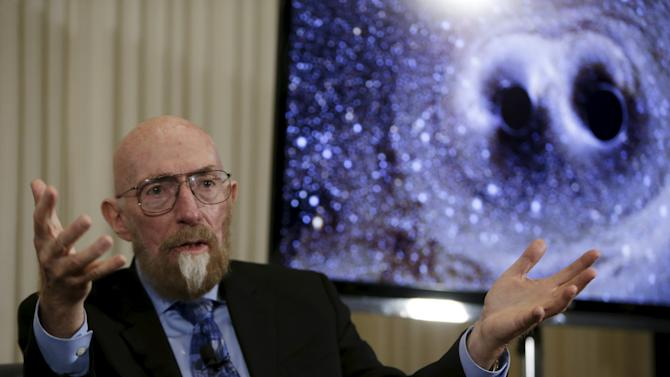 Dr. Thorne of Caltech makes closing remarks at news conference on detection of gravitational waves, in Washington