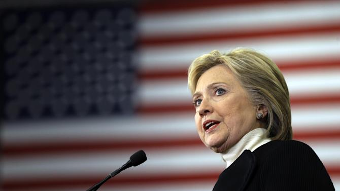 Democratic presidential candidate Hillary Clinton speaks at her first-in-the-nation presidential primary campaign rally, Tuesday, Feb. 9, 2016, in Hooksett, N.H. Clinton lost to Bernie Sanders in New Hampshire.  (AP Photo/Matt Rourke)