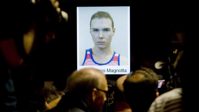 The photograph of  Luka Rocco Magnotta,is shown during a news conference in Montreal, Tuesday, June 5, 2012.  Magnotta told a judge Tuesday he will not fight his extradition from Germany to Canada, Berlin police say. Magnotta is wanted in Canada on several charges, including first-degree murder, in connection with the killing and dismemberment of Chinese national Jun Lin. (AP Photo/Montreal Police Service via The Canadian Press)