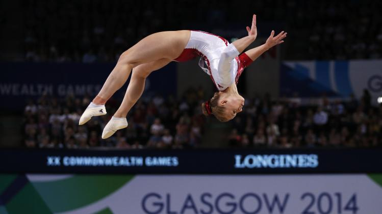 Black of Canada performs on the beam during the women's gymnastics apparatus final at the 2014 Commonwealth Games in Glasgow