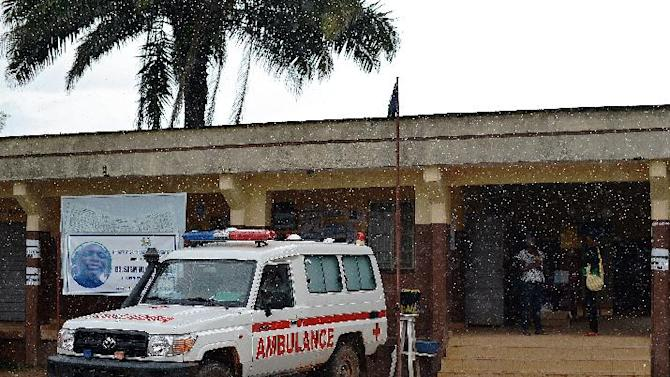 An ambulance is parked in front of the Kenema government hospital, in Sierra Leone, on August 16, 2014