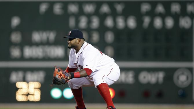 Boston Red Sox t third baseman Pablo Sandoval plays a shift at second base during the fifth inning of a baseball game against the New York Yankees in Boston, Sunday, May 3, 2015. (AP Photo/Michael Dwyer)