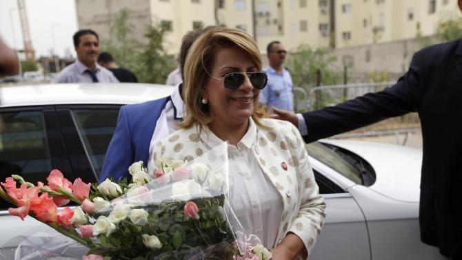 President of the Democratic Movement for Reform and Construction Mansour Karoui arrives to submit her candidacy for the presidential elections in Tunis
