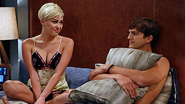 First Look: Miley Cozies Up To Ashton on &#39;Men&#39;