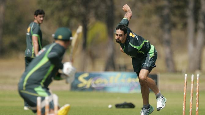 Australia's Mitchell Johnson during a training session ahead of the tri-series between Australia, South Africa and hosts Zimbabwe in Harare on August 23, 2014
