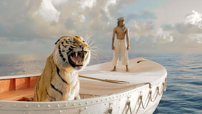 "This publicity film image released by 20th Century Fox shows Suraj Sharma in a scene from ""Life of Pi,"" directed by Ang Lee. The film was nominated for an Academy Award for best picture on Thursday, Jan. 10, 2013.  The 85th Academy Awards will air live on Sunday, Feb. 24, 2013 on ABC.  (AP Photo/20th Century Fox, Jake Netter, File)"