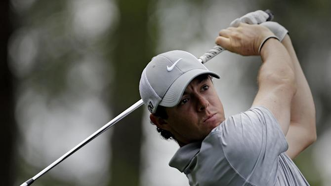 Rory McIlroy, of Northern Ireland, tees off on the fourth hole during the second round of the Masters golf tournament Friday, April 12, 2013, in Augusta, Ga. (AP Photo/David Goldman)